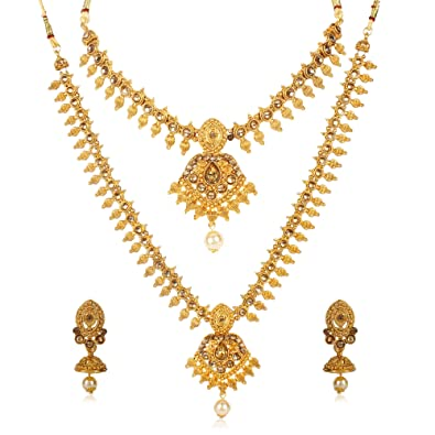 1b891b7b8 Buy Shining Diva Fashion Latest Combo Design Necklace Set for Women  Traditional Gold Plated Jewellery Set for Women Online at Low Prices in  India
