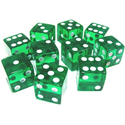 Totem World 10 Pcs Transparent Green D6 Dice Set - Premium Balanced 6 Sided 14mm for Dungeons and Dragons DND RPG MTG Table Games: Toys & Games