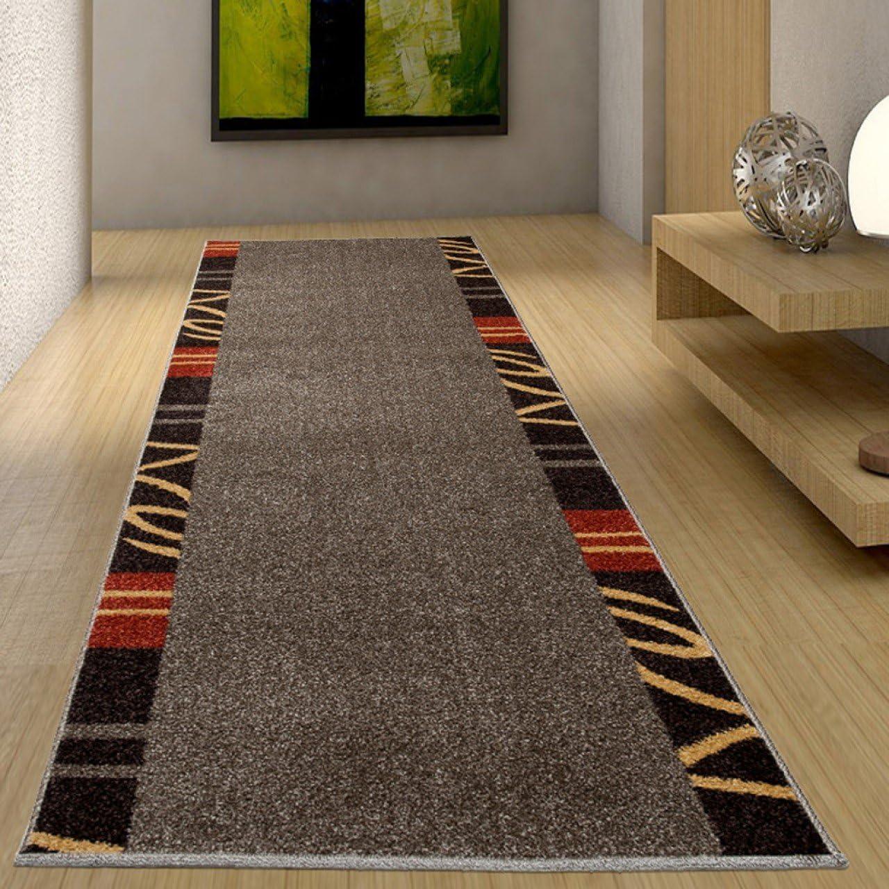 Tapiso JAWA L/äufer Teppich Flur Br/ücke Meliert Modern Kurzflor Braun Rot Gelb Streifen Linien Muster Designer Wohnzimmer /ÖKOTEX 70 x 110 cm