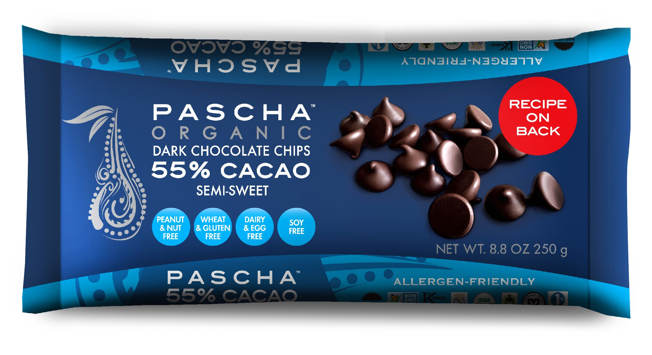 PASCHAPascha Organic Allergen-Free Semi-Sweet Dark Chocolate Chips 55 Percent Cacao 8.8 Ounce Pack of 6 (Total 52.8 Ounce)