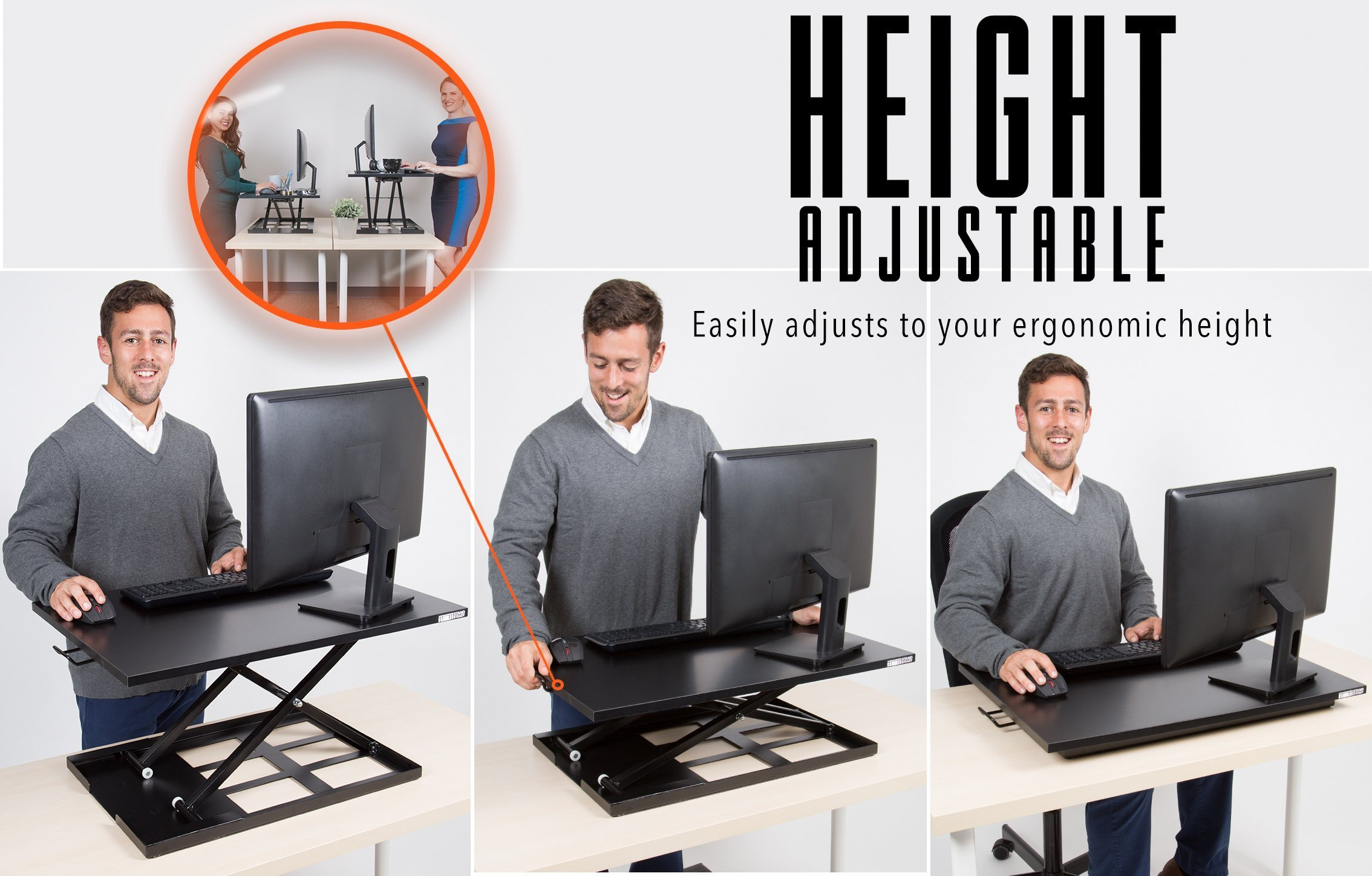 Standing Desk - X-Elite Pro Height Adjustable Desk Converter - Size 28in x 20in Instantly Convert any Desk to a Sit / Stand up Desk (Black) by Stand Steady (Image #5)