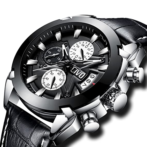 CIVO Relojes de Pulsera Hombres Cronógrafo Calendario Impermeable Moda Cool Reloj para Hombres Adolescente Chicos Lujo