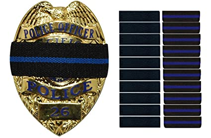 Bands of Mourning - Mourning Bands for Badges - Police - 10 Pack Blue Line  and 10 Pack Black - 20 Mourning Bands Set - Show Unity for a Fallen Officer