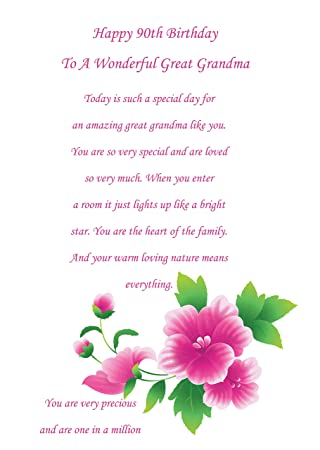 Great Grandma 90th Birthday Card