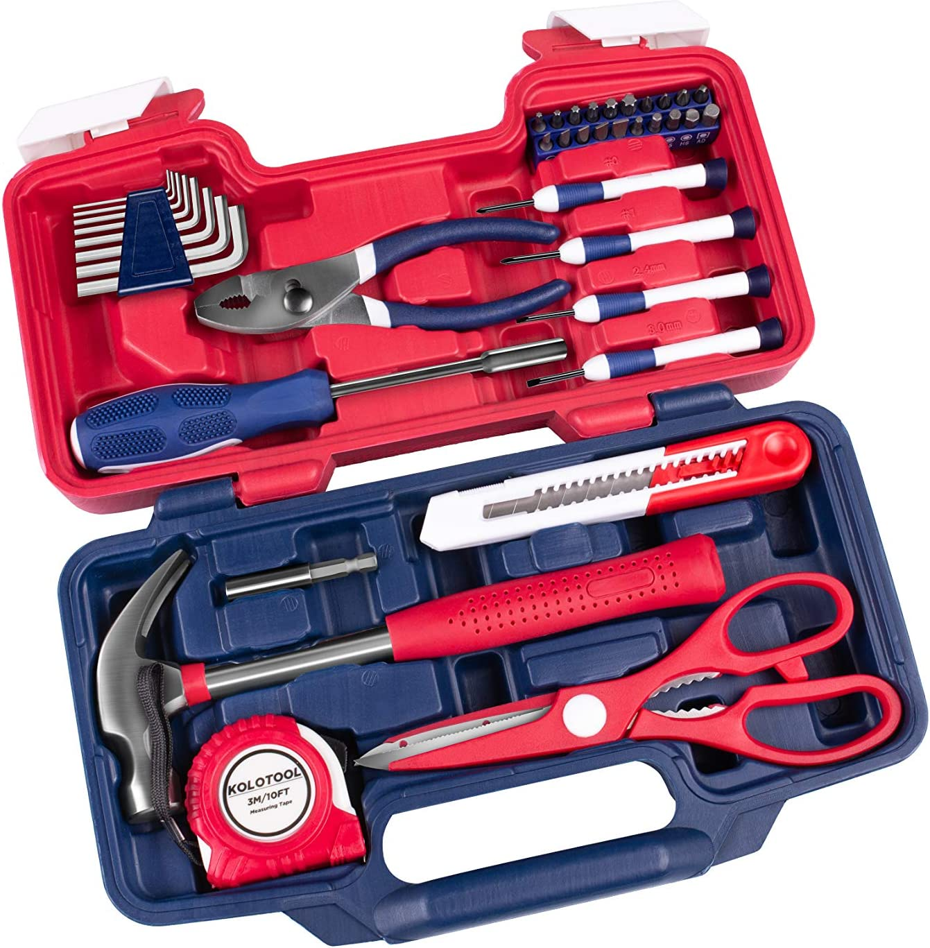 KOLOTOOL 39-Piece Portable Household Repair Hand Tool Set with Case Patriot Edition (Red)