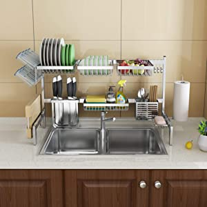 Skywin Kitchen Dish Rack Over Sink - 2 Tier Dish Rack for Counter Over the Sink Dish Rack - Stainless Steel Dish Rack