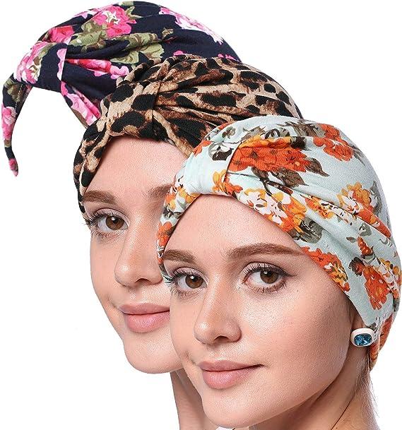 Gorra Para Mujer Patrón Floral Musulmana Suave Pañuelo Turban Cáncer Pérdida Del Años 20 Cabello Quimioterapia