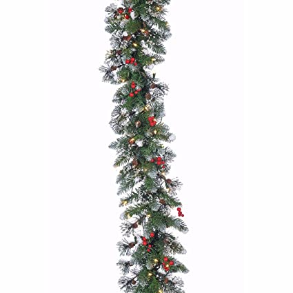 glazier pine iced garland 9 ft w 100 white mini lights christmas ul new in