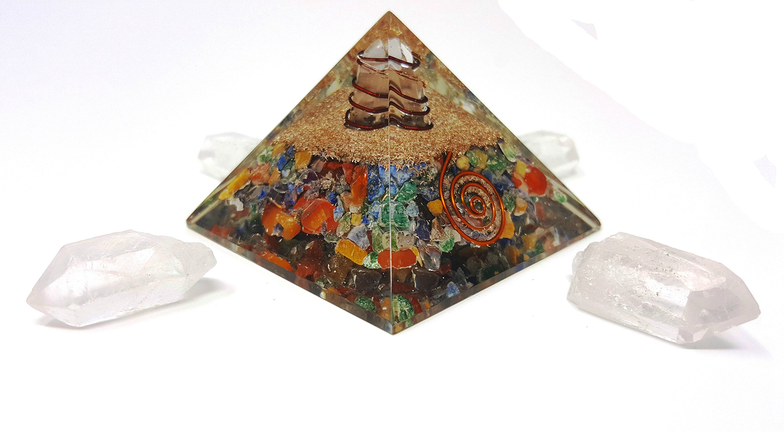 7 Chakra Crystal Orgone Pyramid Kit/Includes 4 Crystal Quartz Energy Points/EMF Protection Meditation Yoga Energy Generator by Auramore (Image #4)