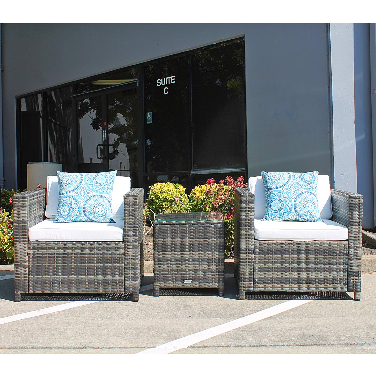 Patiorama Patio Porch Furniture Sets 3 Pieces PE Rattan Grey Wicker Chairs White Cushion with Table Outdoor Garden Furniture Sets by Patiorama