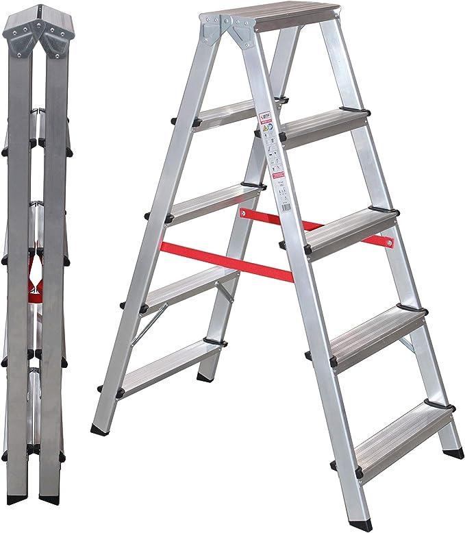 NAWA Escalera Doble Acceso Tijera de Aluminio 5 Peldaños EN 131 Capacidad Máx. 150 kg. Hecho en Europa (5 Peldaños): Amazon.es: Bricolaje y herramientas