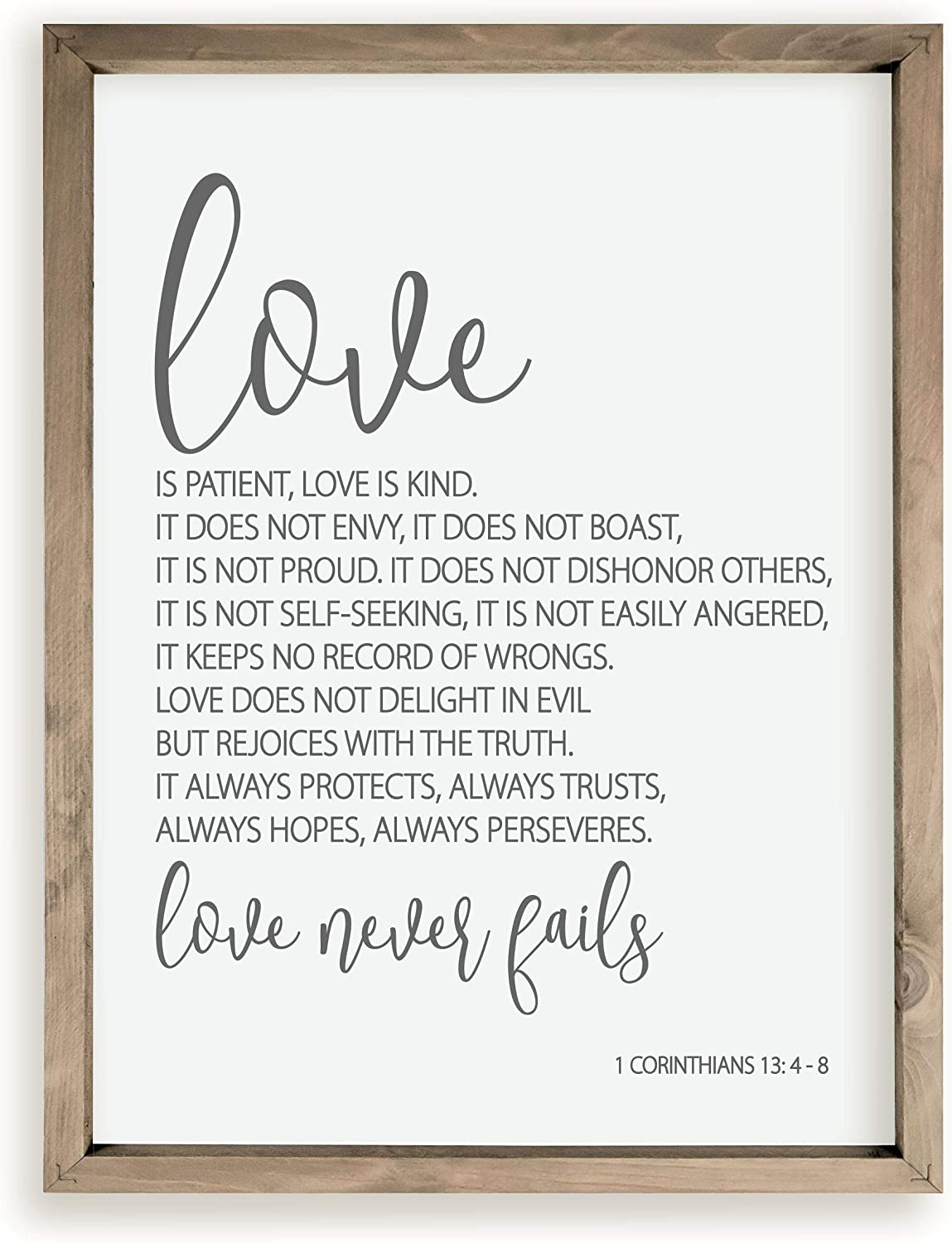 1 Corinthians 13 Love is Patient Love is Kind Wood Farmhouse Wall Sign 12x15
