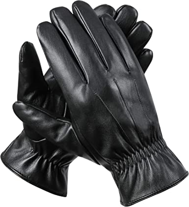 SANKUU Men/'s Winter Gloves Leather Touchscreen Snap Closure Cycling Glove Outdoo