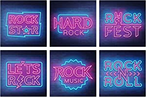 GC Rock Music Wall Decor | Set of 6 Inspirational Posters | Unframed 11x11 Rock Wall Decor | Rock N Roll Lovers Posters for Music, Room Decor, Music Party Decoration | Rock Stickers