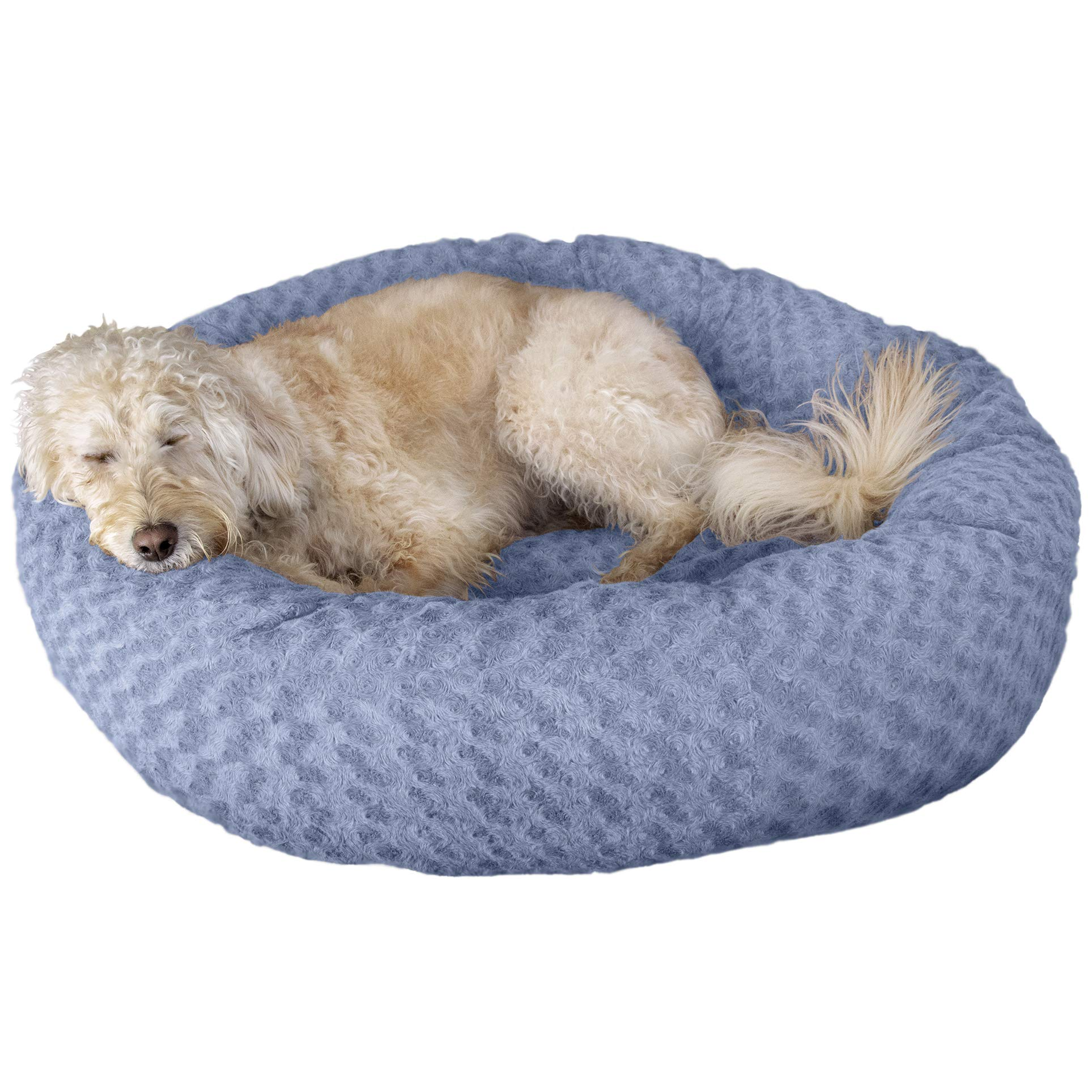 FurHaven Pet Donut Bed | Deep Dish Curly Fur Donut Pet Bed for Dogs & Cats, Fresh Blueberry, Large