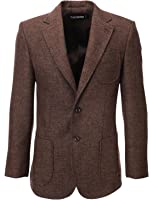 FLATSEVEN Mens Herringbone Wool Blazer Jacket with Elbow Patches