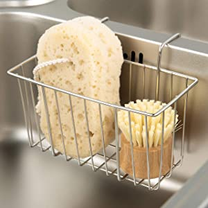 Kitchen Sponge Holder, Sink Basket Sink Caddy Brush Dishwashing Liquid Drainer Rack