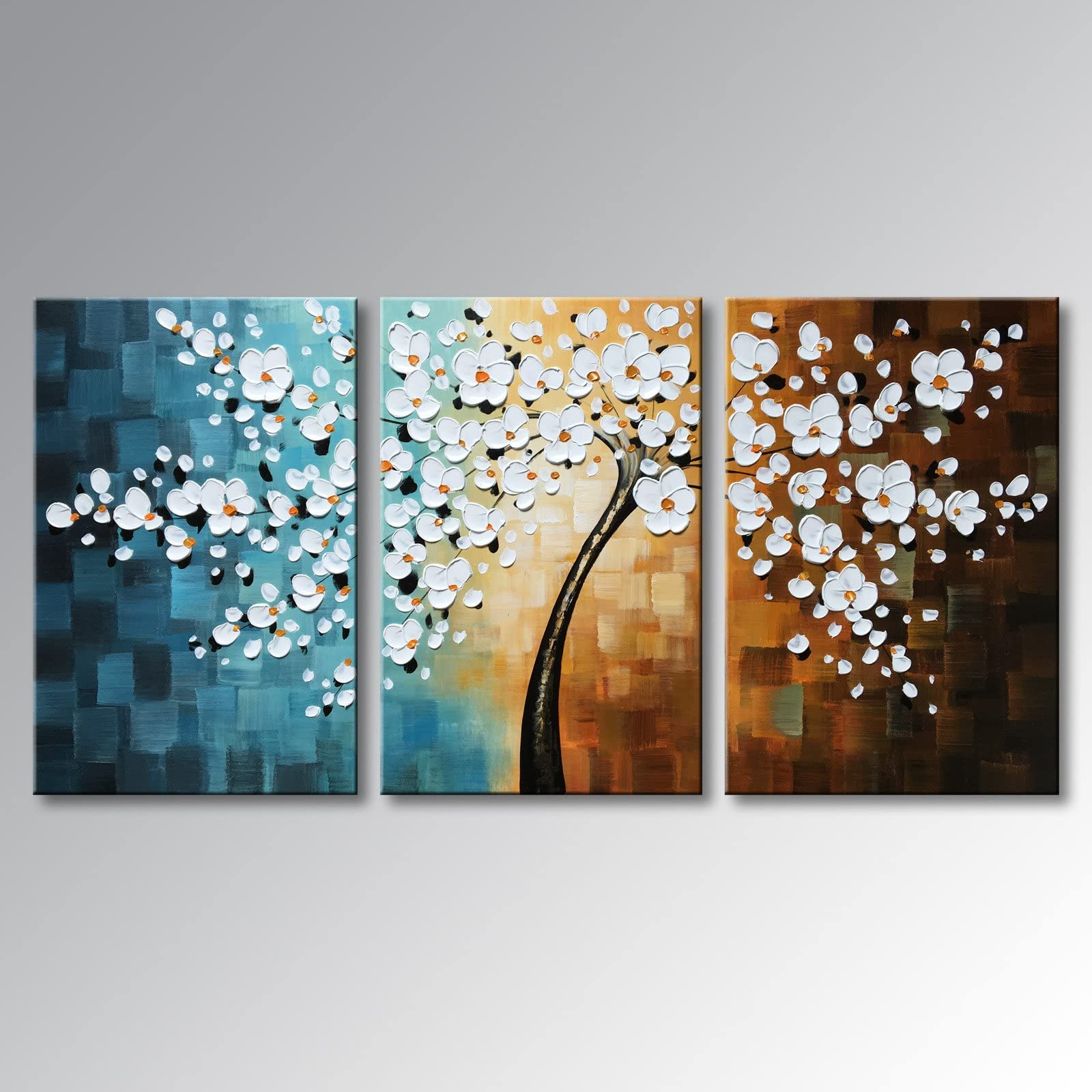 shop amazon com paintingswinpeak art hand painted abstract oil painting modern plum blossom artwork floral canvas wall art