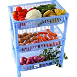 Novicz Plastic 3-Layer Cutlery Rack, Blue