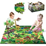 ShinePick Dinosaur Toys Figures with Activity Play Mat & Trees, Educational Dinosaur Playset to Create a Dino World Including T-Rex,Triceratops,Velociraptor, Perfect Christmas Birthday Gifts for Kids