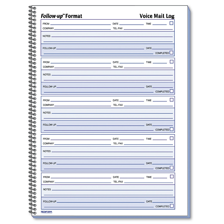 Rediform 51114 Voice Mail Wirebound Log Books 8 x 10 5/8 500 Sets/Book by Rediform
