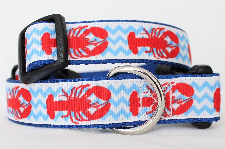 Lobster Dog Collar adjustable nylon Handmade Pink on black