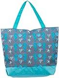 Bolsa de Playa Bolso de Mano con patron de Hipocampo y Caracola Airee Fairee (Hipocampo y Coquille Azul)