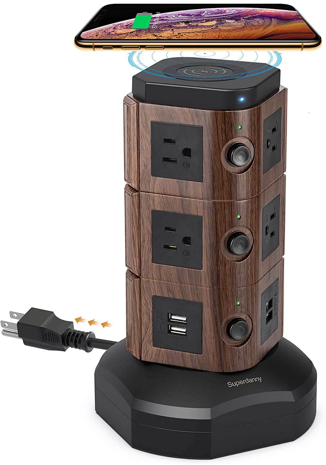 SUPERDANNY Surge Protector Tower with 10W Wireless Charger, Power Strip Tower Vertical Charging Station with 10 AC Outlets+4 USB Slots and 6.5ft Extension Cord for Home Office Garage, Deep Wood Grain