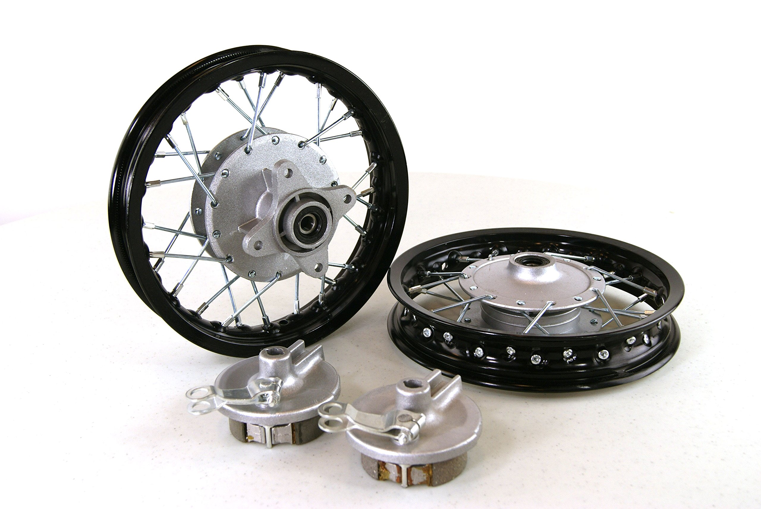 Honda CRF50 Black Front & Rear Alum Wheels Rims. 10'' 10 Inch Xr50 Pit Bike Stock Style