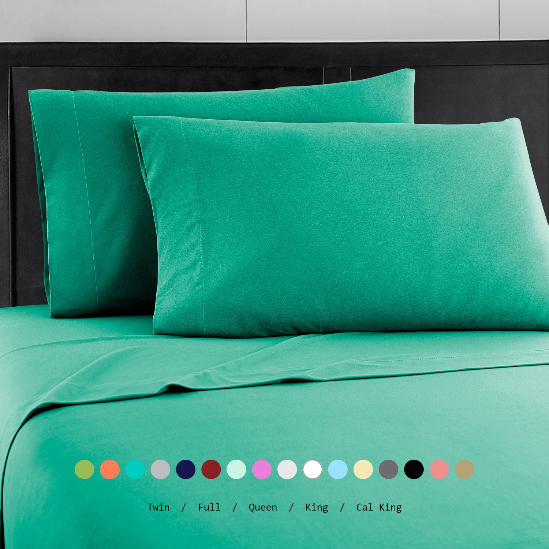 Prime Bedding ベッドシーツセット マイクロファイバー 2000 寝具4枚セット キング グリーン B076PMHNG8 キング|Bright Teal Bright Teal キング