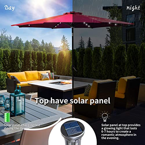 KOOLWOOM 9ft Solar LED Lighted Patio Umbrella with Crank and Manual Tilt,Outdoor Umbrella with Fade Resistant Water Proof Fabric and Push Button Without Base red 2
