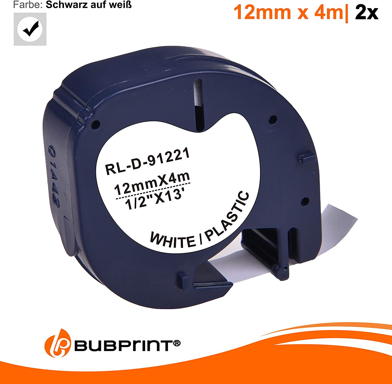Bubprint Schriftband kompatibel f/ür Dymo 91221 91201 S0721660 S0721610 LetraTag LT110T LT100H LT100T QX50 XR XM 2000 Plus LT 100 Schwarz auf Weiss 12mm x 4m Kunststoff Etikettenband