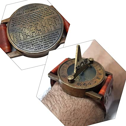 Brass Sundial with Leather Strap Wrist Sundial