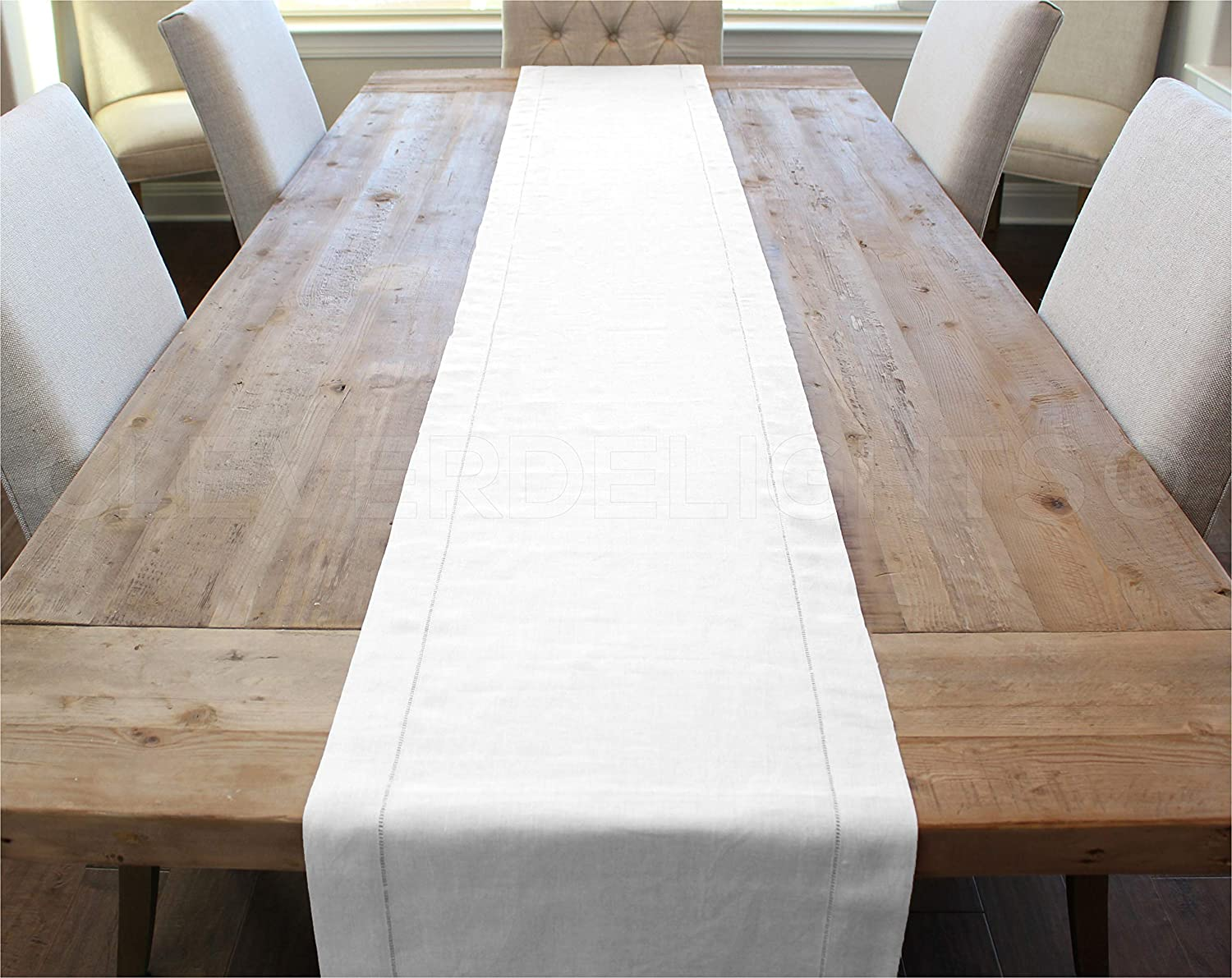 """CleverDelights White Hemstitched Table Runner - 16"""" x 90"""" - 45/55 Cotton Linen Blend"""