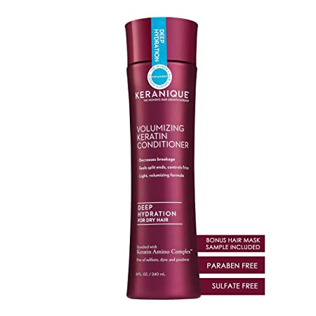 6a856090414 Amazon.com: Keranique Volumizing Keratin Conditioner Deep Hydration for  Hair Growth and Thinning Hair | Keratin Amino Complex, Free of Sulfates, ...