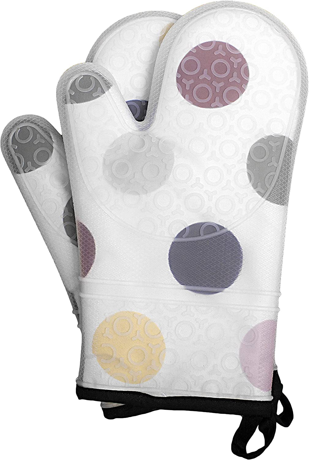ARCLIBER 1 Pair Silicone Oven Mitts, Heat Resistant, Non-Slip Oven Gloves, Baking Gloves for Cooking, Baking, Grilling, Barbecue