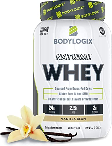 Bodylogix Natural Grass-Fed Whey Protein Powder, NSF Certified, Vanilla Bean, 2 lb
