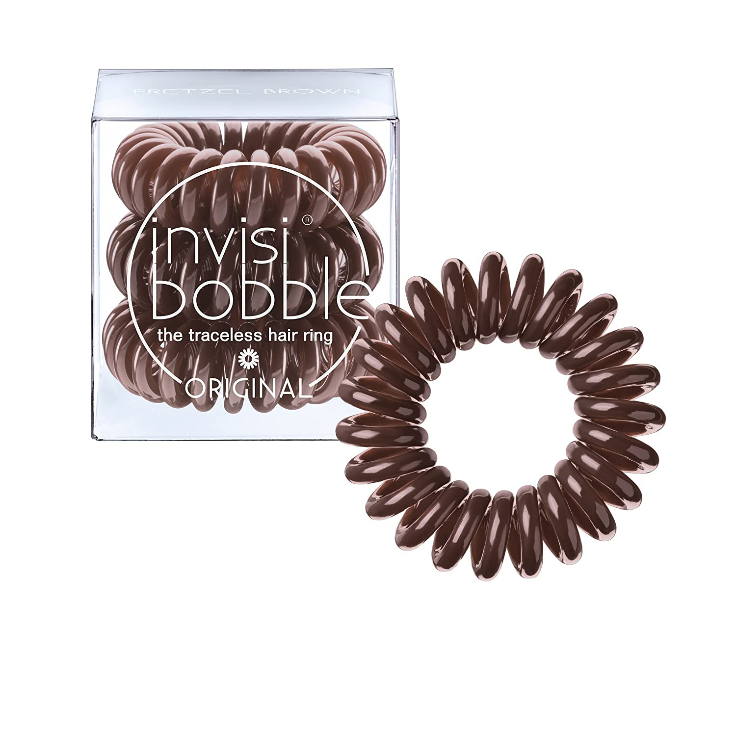 invisibobble ORIGINAL Pretzel Brown, the traceless and original spiral shaped hair ring, color: brown, 3 hair ties per packaging invisibobble GmbH IB-OR-PC10002