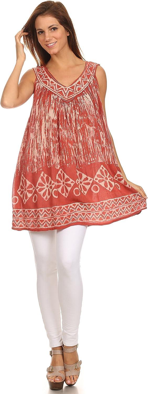 Sakkas Wanda May Embroidered Batik Scoop Neck Relaxed Fit Sleeveless Blouse 91KdqdtXD2BL