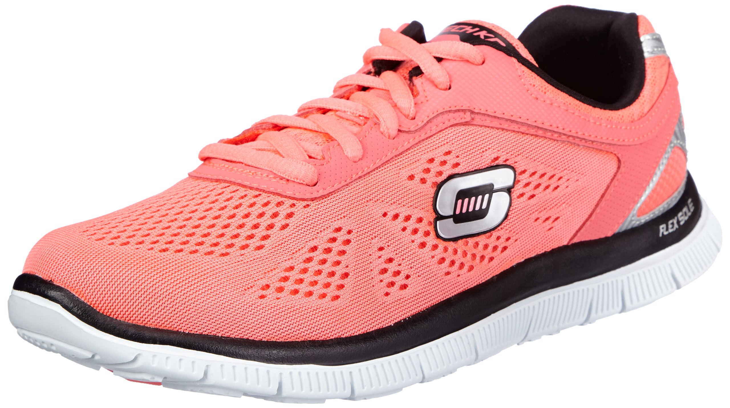 Skechers Flex Appeal Love Your Style Womens Lace Up Athletic Sneakers Hot Pink/Black 8.5