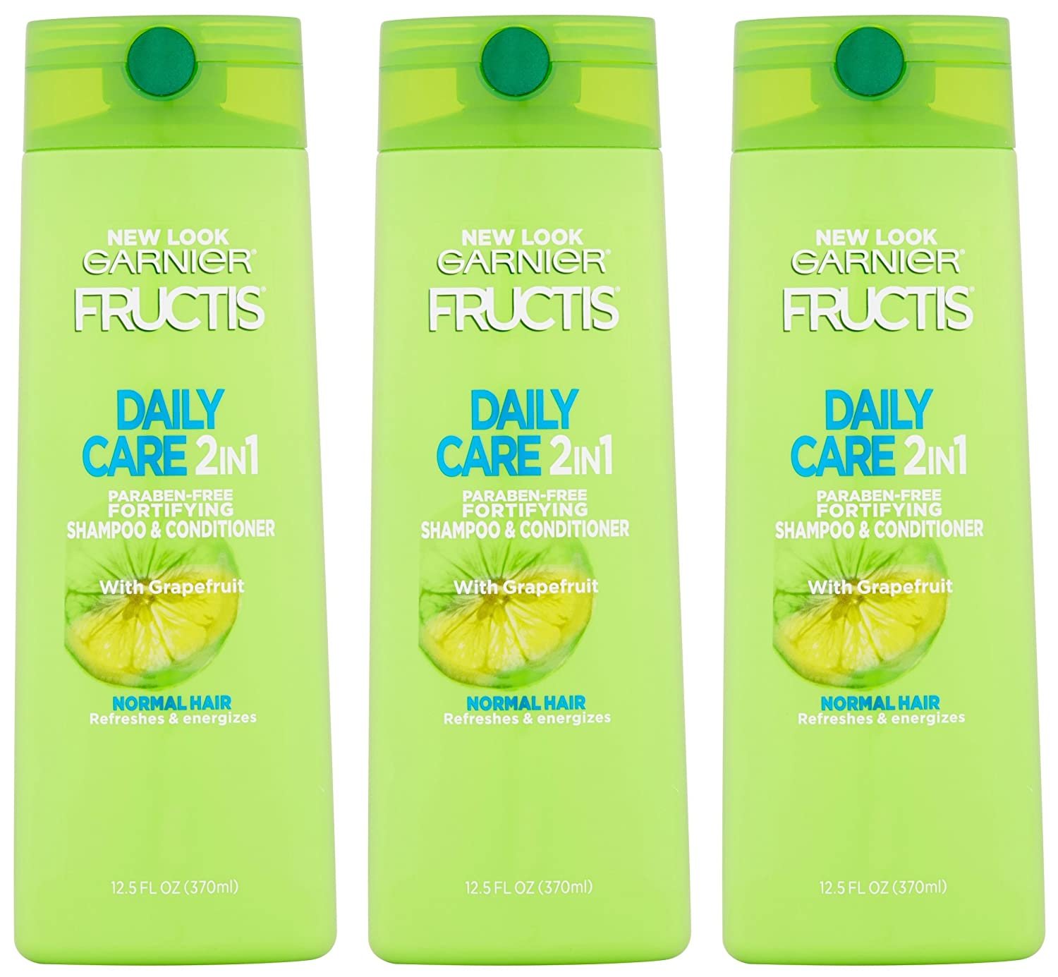 Garnier Fructis Haircare - Daily Care - 2 in 1 Shampoo & Conditioner - With Grapefruit - Net Wt. 12.5 FL OZ (370 mL) Per Bottle - Pack of 3 Bottles