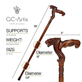 Amazon.com: GC-Artis Jaguar - Bastón de madera tallada para ...