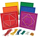 edxeducation Double-Sided Geoboard Set - in Home Learning Manipulative for Geometry and Creativity - 5 x 5 Grid/12 Pin…