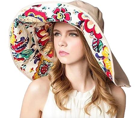 75664098de5 Elonglin Womens Wide Brim Beach Hat Sun Hat Brim Detachable Foldable Beach  Cap Anti-Sunlight