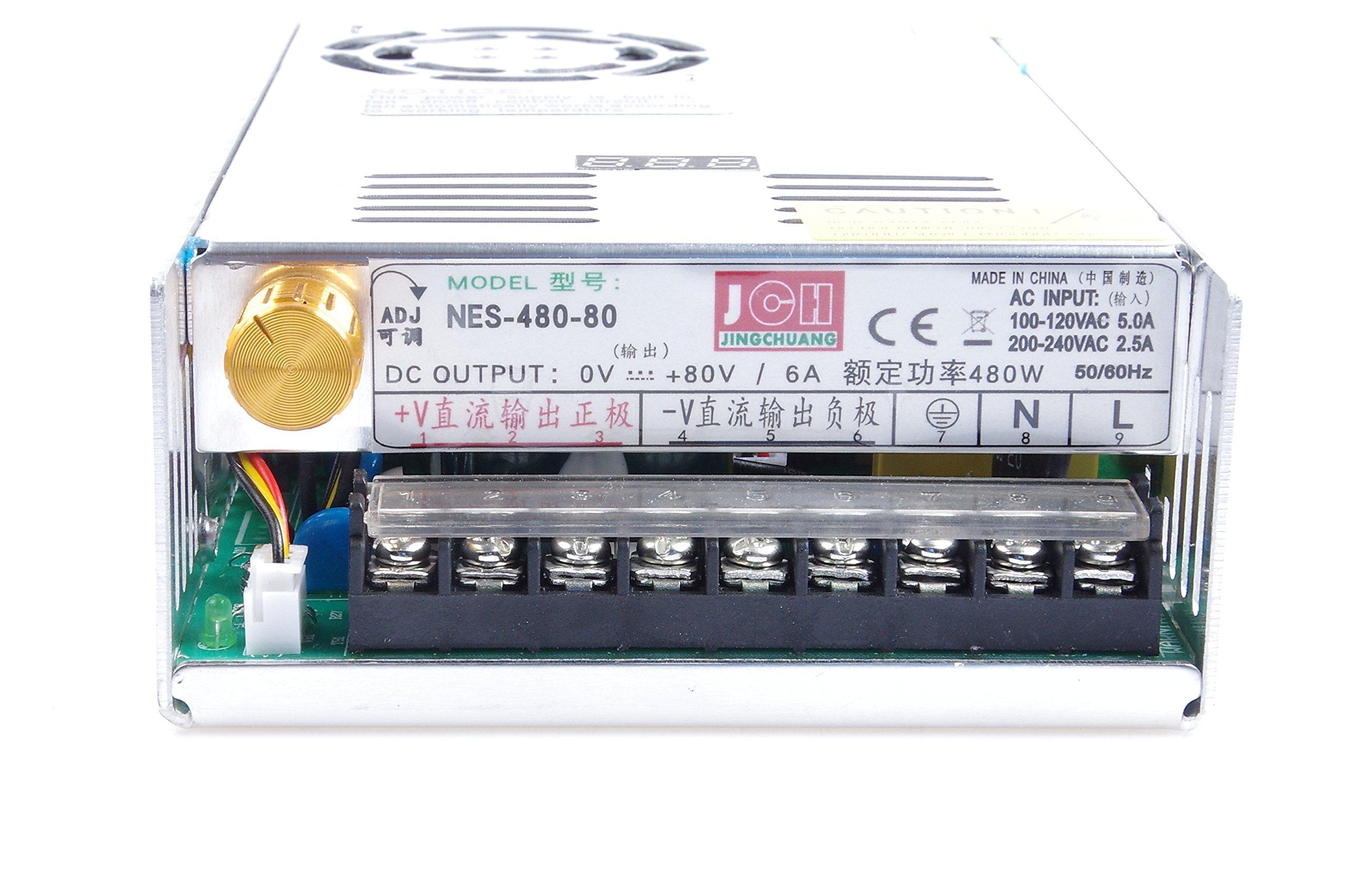 Adjustable DC Power Voltage Converter AC 110V-220V to DC 0-80V Module 80V 6A Switching Power Supply Digital Display 480W Voltage Regulator Transformer Built in Cooling Fan (DC 0-80V 6A) by TOFKE (Image #2)