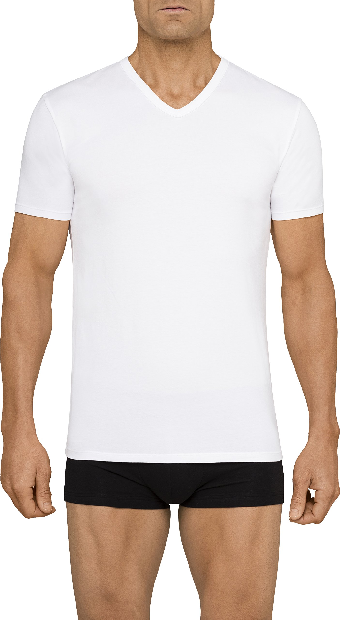 Calvin Klein Men's Undershirts Cotton Stretch 2 Pack V Neck Tshirts, White, Medium