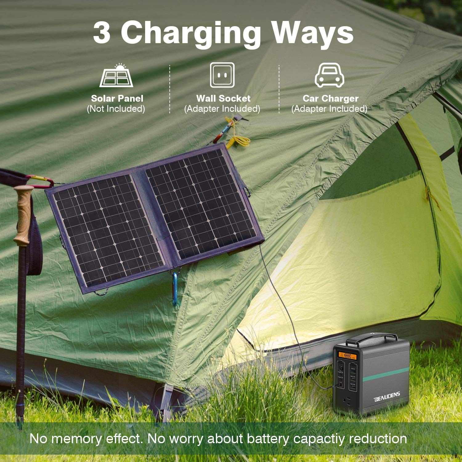 BEAUDENS 166Wh Portable Power Station, Lithium Iron Phosphate Battery, 2000 Cycles, 10 Years Battery Life, with Multiple Ports, Perfect for Tablet, Laptop, Appliances Use by BEAUDENS (Image #4)