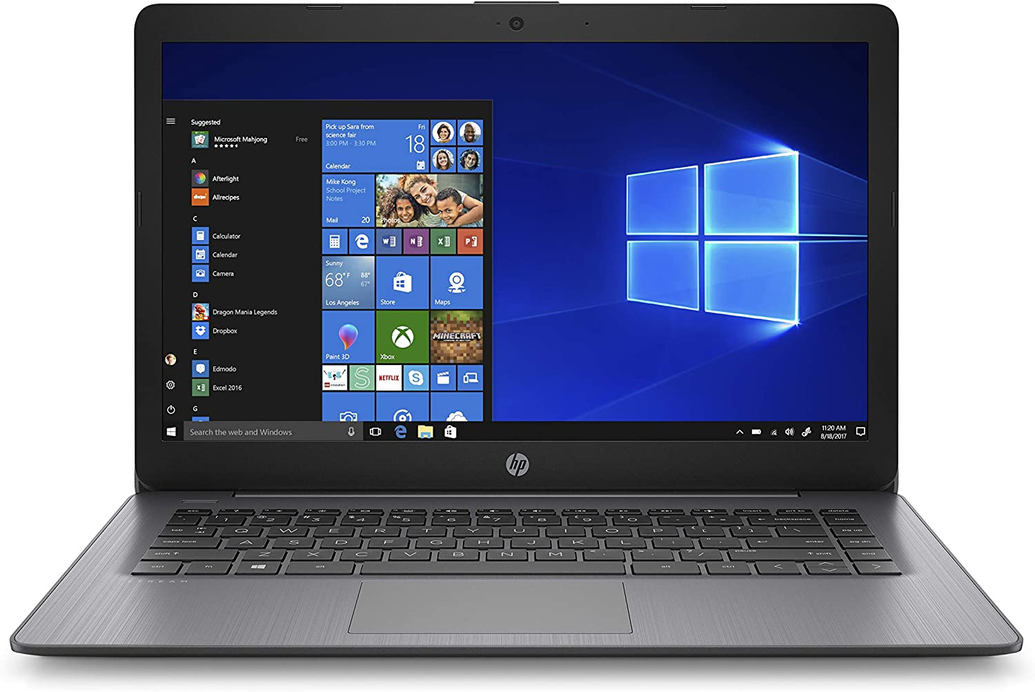 HP Stream 14-inch Laptop, Intel Celeron N4000, 4 GB RAM, 64 GB eMMC, Windows 10 Home in S Mode with Office 365 Personal for 1 Year (14-cb186nr, Brilliant Black) (9MV74UA#ABA)
