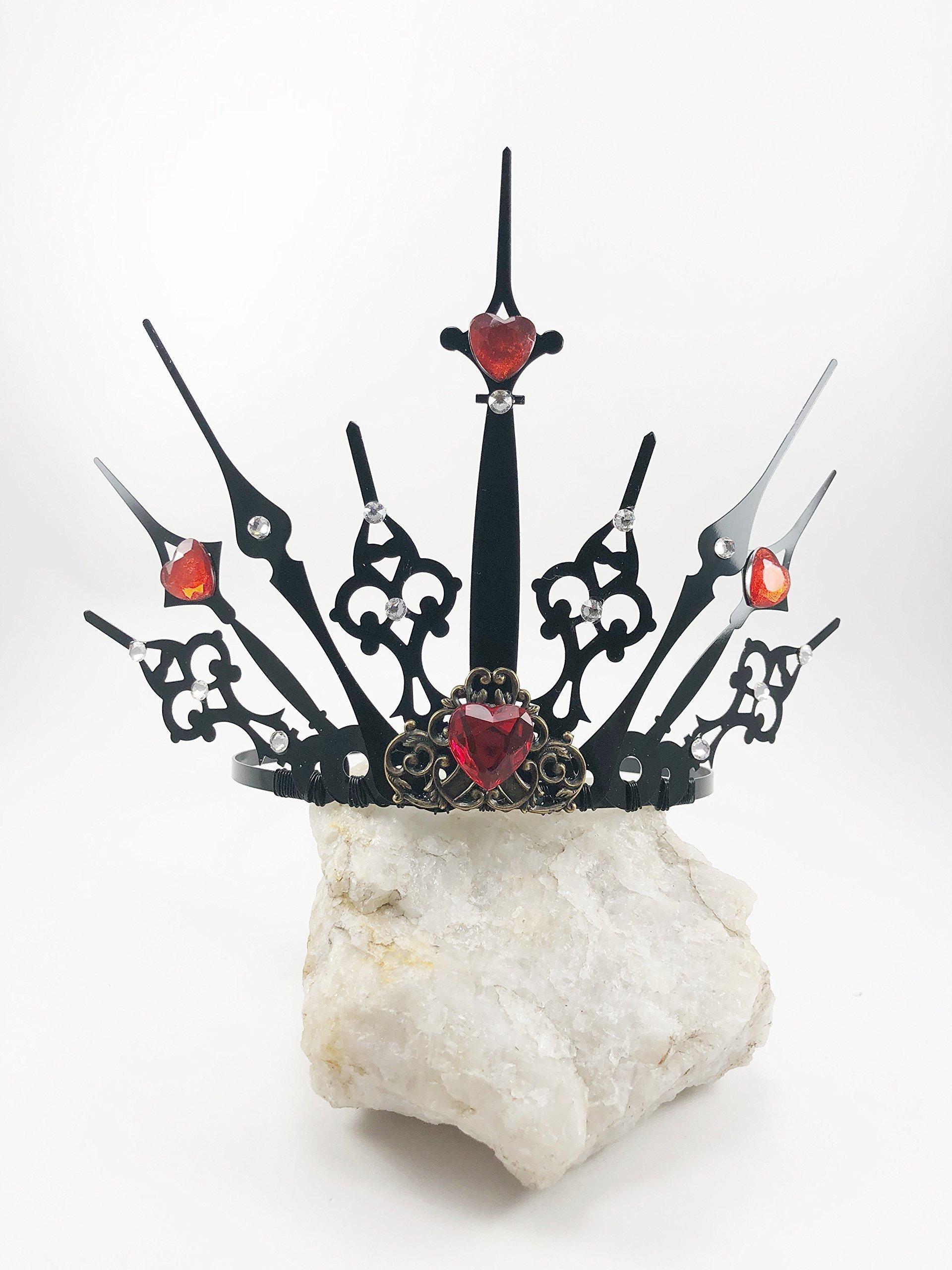 Queen of Hearts Crown Steampunk Clock Hand TIARA Crown, Elven Fairy Costume Tiara, Black Gothic Tiara