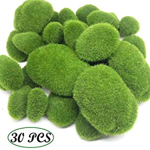 Woohome 30 PCS 3 Size Artificial Moss Rocks Decorative, Green Moss Balls, Fake Moss Decor for Floral Arrangements, Fairy Gardens and Crafting (30-3 Size)